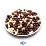 Crispies Size 4mm - Coated with 80% dark, milk, and white chocolate